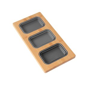 Azuni 16.75-in L x 8.5-in W WorkstationSinkBambooServing Boardset with 3CollapsibleContainers