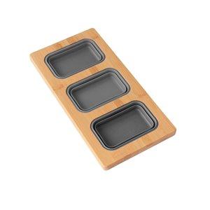 Planche à découper Azuni pour évier, en Bamboo, 16.75 po l. x 8.5 po L. (3 contenant inclus)