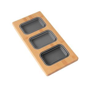 Azuni 18-in L. x 8.6-in W Kitchen Sink Bamboo Serving Board set with 3 collapsible containers
