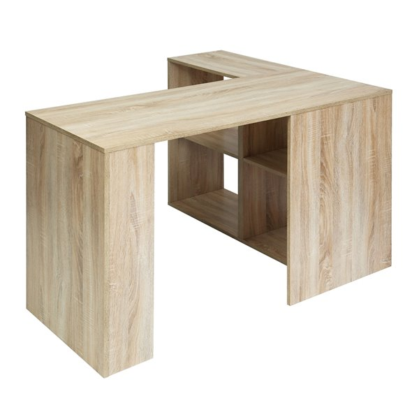 FurnitureR Mccoy 47.24-in Light Brown Modern/Contemporary L-shaped desk