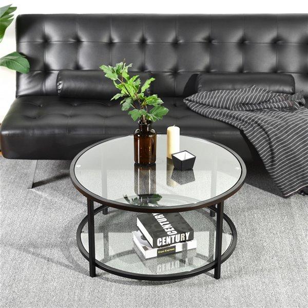 FurnitureR Neka Clear Glass Coffee Table