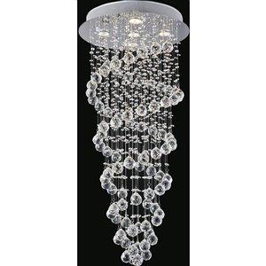 CWI Lighting Double Spiral 18-in Chrome Glam Halogen Flush mount light