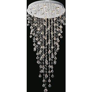 CWI Lighting Rain Drop 28-in Chrome Glam Halogen Flush mount light