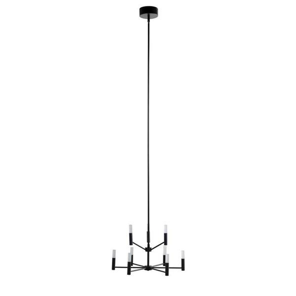 Lustre à 9 lumières DEL avec abat-jour en acrylique givré moderne/contemporain Milan de Scott Living, noir mat