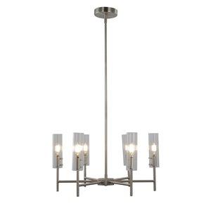 Lustre à 6 lumières en métal transitionnel Windsor de Scott Living, nickel brossé