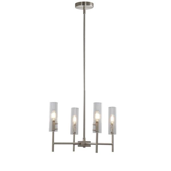 Lustre à 4 lumières en métal moderne/contemporain Windsor de Scott Living, nickel brossé