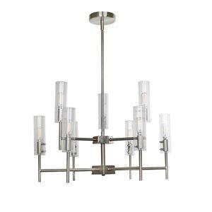 Lustre à 9 lumières avec verre clair moderne/contemporain Windsor de Scott Living, nickel brossé