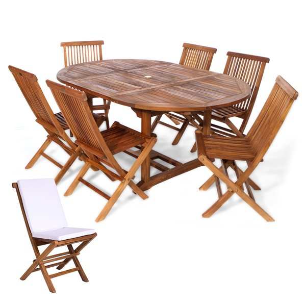 All Things Cedar 7-Piece Brown Java Teak Frame Oval Patio Dining Set with Royal White Cushions Included