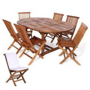 Ensemble à diner de patio ovale en bois de teck avec coussins de chaise par All Things Cedar, lot de 7, Java/blanc royal