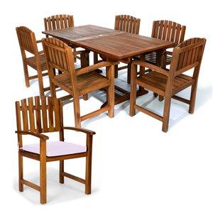 Ensemble à diner de patio rectangulaire en bois de teck avec coussins de chaise par All Things Cedar, lot de 7, blanc royal/Jav