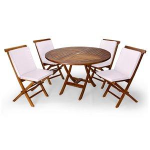 Ensemble à diner de patio rond en bois de teck avec coussins de chaise par All Things Cedar, lot de 5, Java/blanc royal