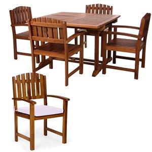 Ensemble à diner de patio rectangulaire en bois de teck avec coussins de chaise par All Things Cedar, lot de 5, blanc royal/Jav