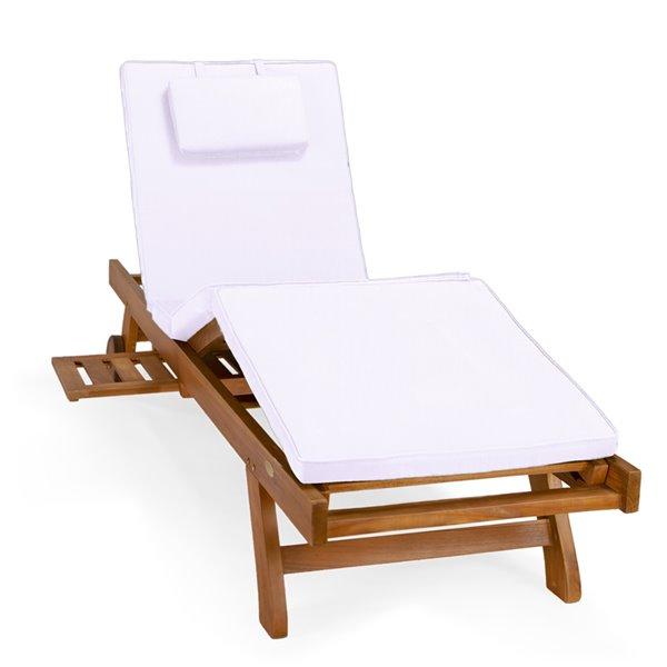 Chaise longue en bois de teck Java stationnaire avec siège en lattes et coussin blanc royal par All Things Cedar, lot de 1