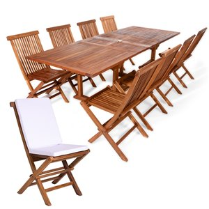 All Things Cedar 9-Piece Brown Java Teak Frame Rectangular Patio Dining Set with Royal White Cushions Included