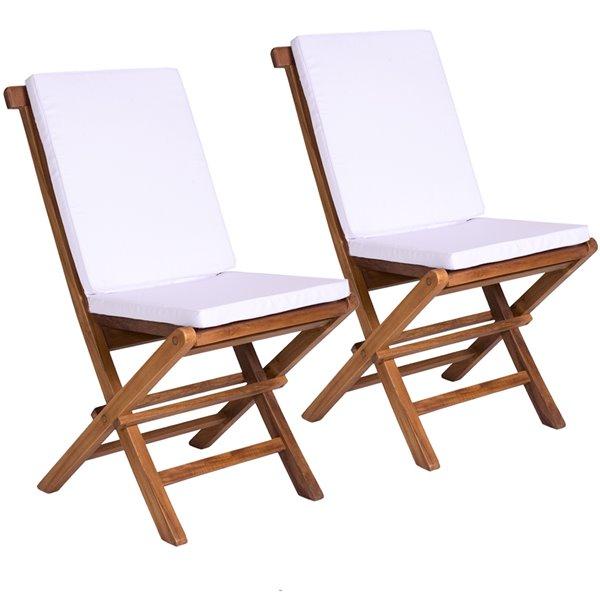Ensemble à diner de patio rond en teck avec parasol de marché et coussins par All Things Cedar, lot de 6, Java/blanc royal