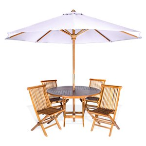 All Things Cedar 6-Piece Brown Java Teak Frame Round Patio Dining Set with Market Umbrella and Royal White Cushions