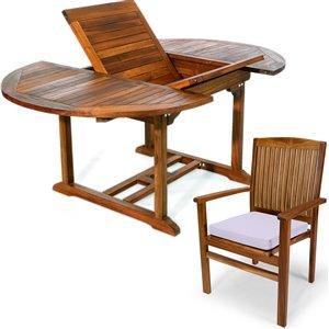 Ensemble à diner de patio ovale en bois de teck avec coussins de chaise par All Things Cedar, lot de 5, Java/blanc royal