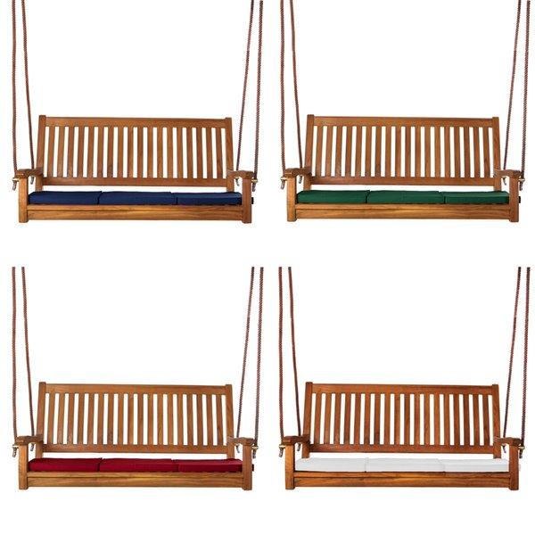 Balançoire d'extérieur pour 3 personnes en bois de teck Java par All Things Cedar
