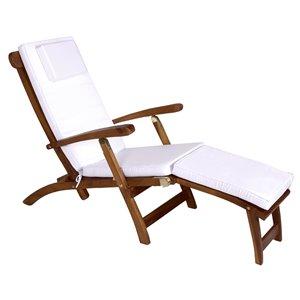 Chaise longue en bois de teck Java stationnaire avec siège en lattes par All Things Cedar, lot de 1