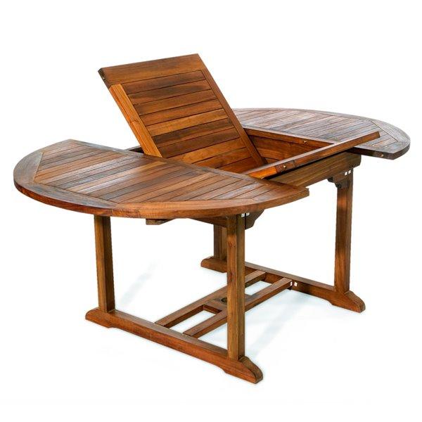 Ensemble à diner de patio ovale en bois de teck avec coussins de chaise par All Things Cedar, lot de 5, blanc royal/Java