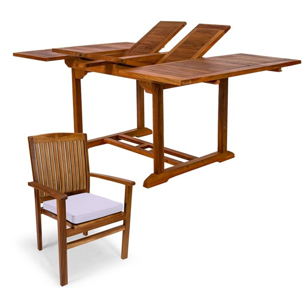 Ensemble à diner de patio rectangulaire en bois de teck avec coussins de chaise par All Things Cedar, lot de 5, Java/blanc roya