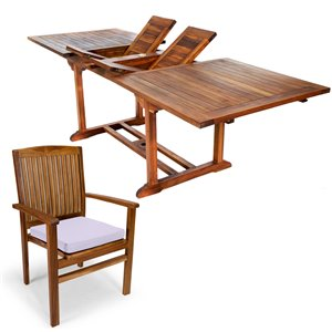 All Things Cedar 7-Piece Java Brown Teak Frame Rectangular Patio Dining Set with Royal White Cushions Included