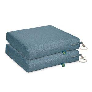 Coussin de chaise de patio carré Weekend ombre bleue de Duck Covers, ens. de 2