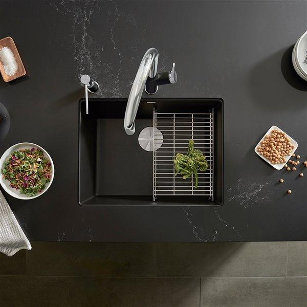 Évier de cuisine simple Précis, sous-plan, noir charbon, 21,46 po x 17,75 po, de BLANCO