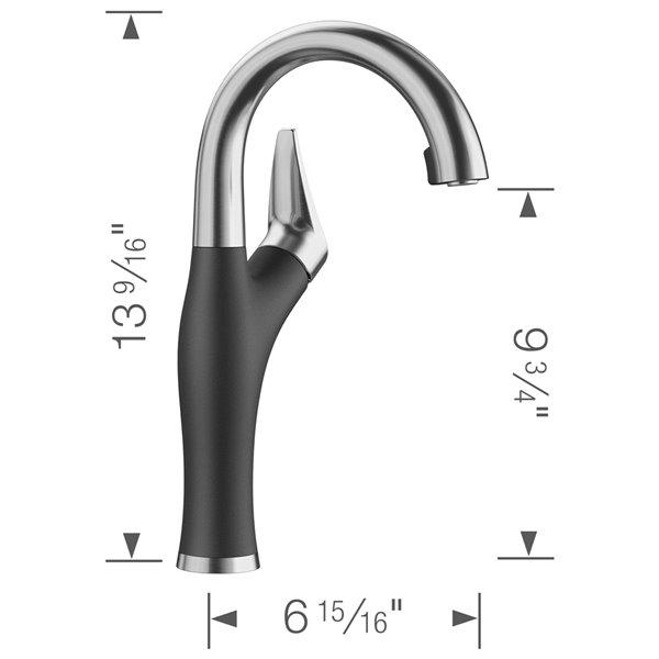 Robinet de de bar et préparation Artona en acier PVD/anthracite à 1 poignée à levier pour usage résidentiel de BLANCO
