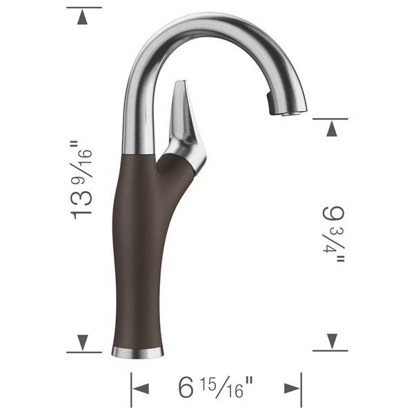 Robinet de de bar et préparation Artona en acier PVD/café à 1 poignée à levier pour usage résidentiel de BLANCO