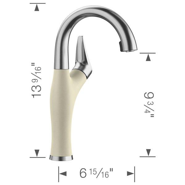 Robinet de de bar et préparation Artona en acier PVD/biscuit à 1 poignée à levier pour usage résidentiel de BLANCO