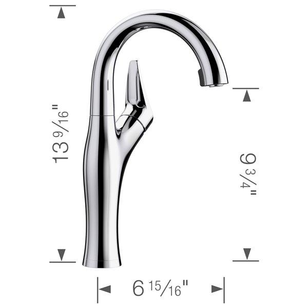 Robinet de de bar et préparation Artona chrome à 1 poignée à levier pour usage résidentiel de BLANCO