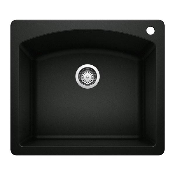 Évier de cuisine Diamond, encastré, 25 po x 22 po, 1 trou, noir charbon, de BLANCO