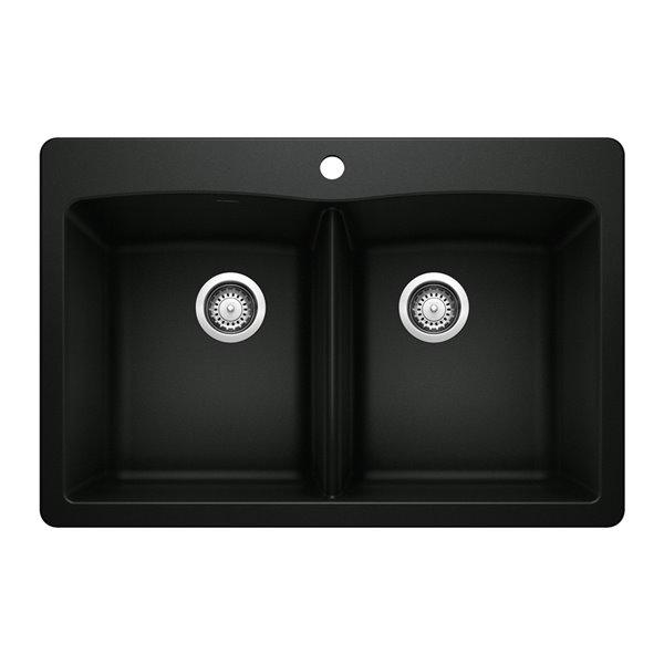 Évier de cuisine Diamond, encastré, double, 33 po x 22 po, noir charbon, 1 trou, de BLANCO