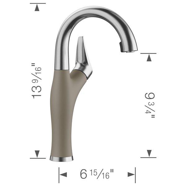 Robinet de de bar et préparation Artona en acier PVD/truffe à 1 poignée à levier pour usage résidentiel de BLANCO