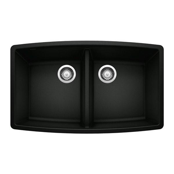 Évier de cuisine sous-plan Performa, double, 33 po x 20 po, noir charbon, de BLANCO