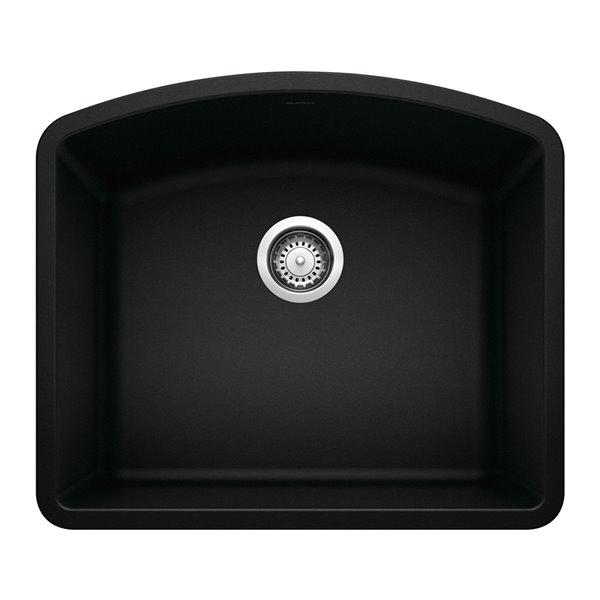 Évier de cuisine Diamond, sous-plan, simple, 24 po x 20,8 po, noir charbon, de BLANCO