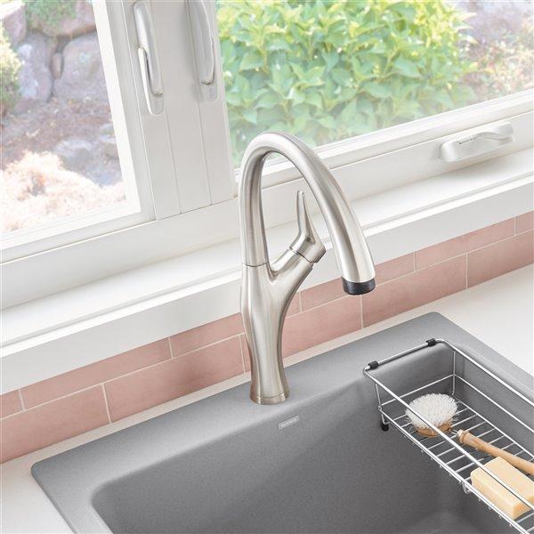 Robinet de cuisine en acier PVD à 1 poignée à levier pour usage résidentiel de BLANCO