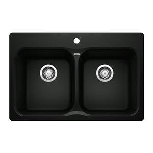 Évier de cuisine encastré double Vision de BLANCO, 31,5 po x 20,67 po, noir charbon, 1 trou