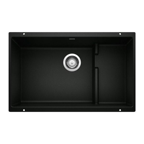 Évier de cuisine simple Precis, sous-plan, 28,75 po x 18,11 po, noir charbon, de BLANCO