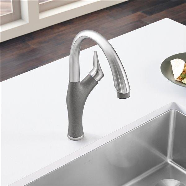 Robinet de cuisine en acier PVD/gris métallique à 1 poignée à levier pour usage résidentiel de BLANCO