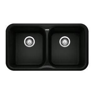 Évier de cuisine double Vision, sous plan, de BLANCO, 31,5 po x 20,67 po, noir charbon, 1 trou