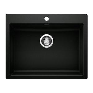 Évier de cuisine simple Precis, sous-plan ou encastré, 25,75 po x 20,5 po, 1 trou, noir charbon, de BLANCO