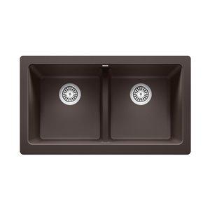 Évier de cuisine double Vintera de style campagnard ou à tablier de BLANCO, 33 po x 19 po, café
