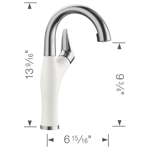 Robinet de de bar et préparation Artona en acier PVD/blanc à 1 poignée à levier pour usage résidentiel de BLANCO