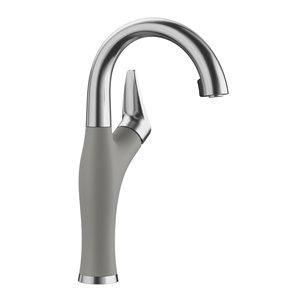 Robinet de de bar et préparation Artona en acier PVD/gris métallique à 1 poignée à levier pour usage résidentiel de BLANCO