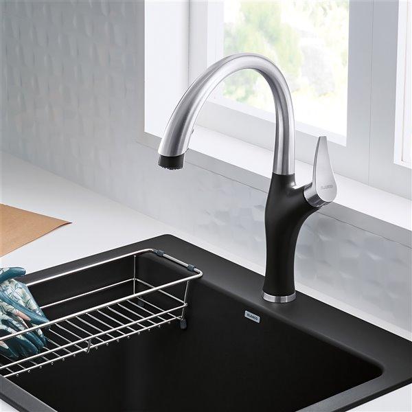Robinet de cuisine en acier PVD/anthracite à 1 poignée à levier pour usage résidentiel de BLANCO