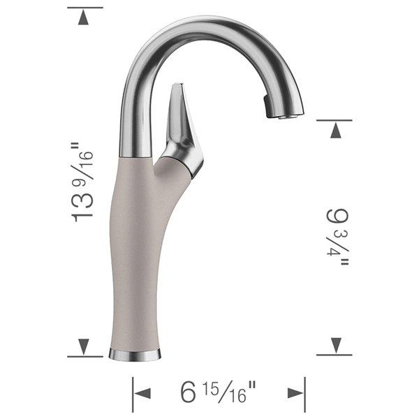 Robinet de bar et préparation Artona en acier PVD/gris béton à 1 poignée à levier pour usage résidentiel de BLANCO
