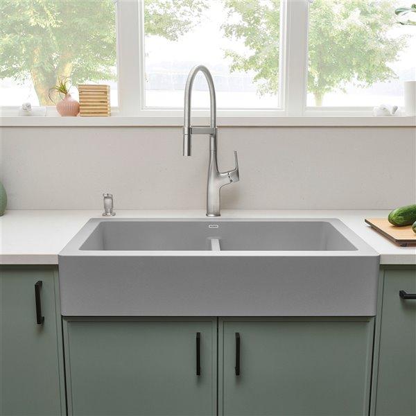 Évier de cuisine double Vintera de style campagnard ou à tablier de BLANCO, 33 po x 19 po, gris béton