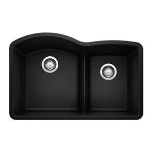 Évier de cuisine Diamond, sous-plan, double, 32,07 po x 20,92 po, noir charbon de BLANCO